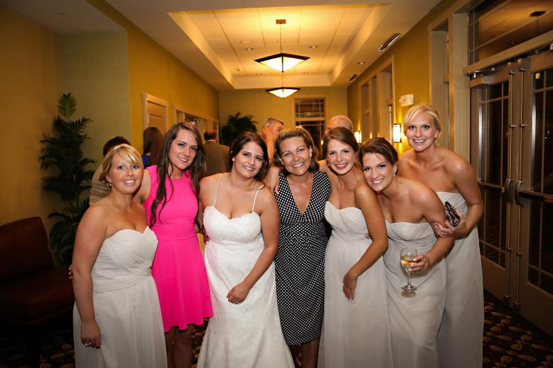 "Surrounded by a great group of my ""soccer girls"" at a recent wedding."
